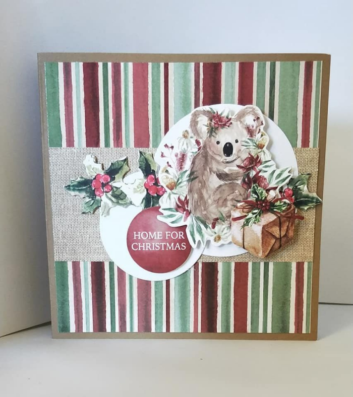 DIY Christmas Stickers cards ideas colorful card with a koala
