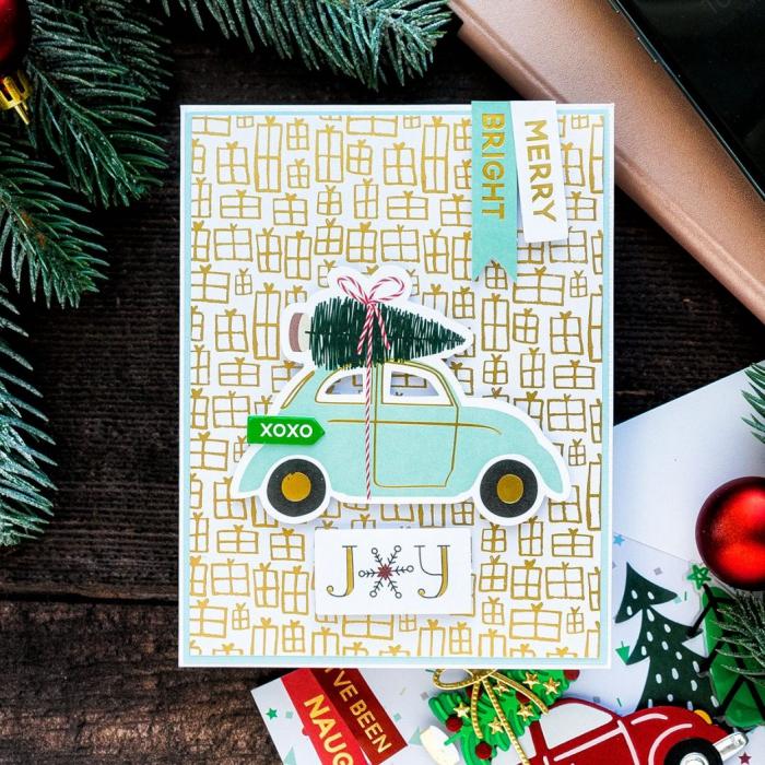 Cute DIY Christmas card with a car and holiday decor