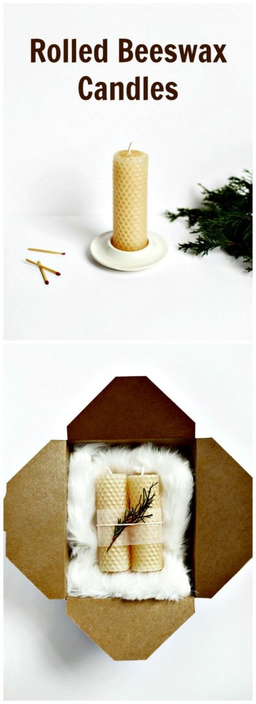 tall Rolled beeswax candles in a festive box