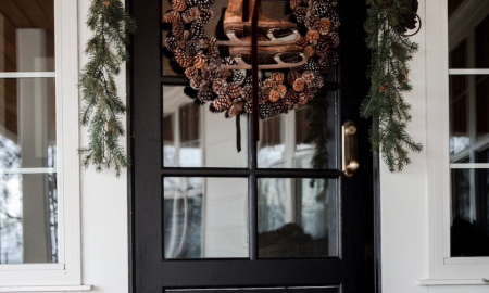 Glam Pinecones Christmas front door decoration