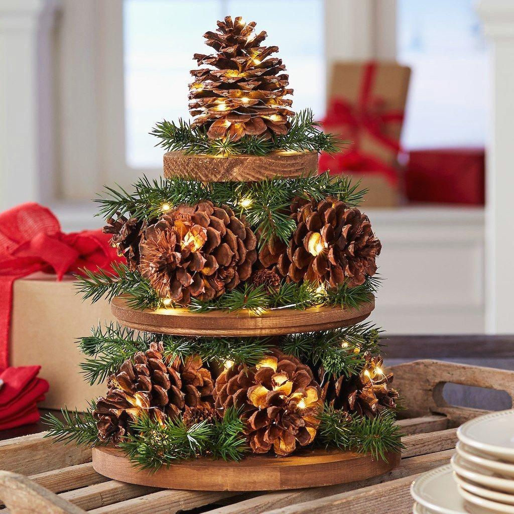pinecone and green branches decor small christmas tree table decoration
