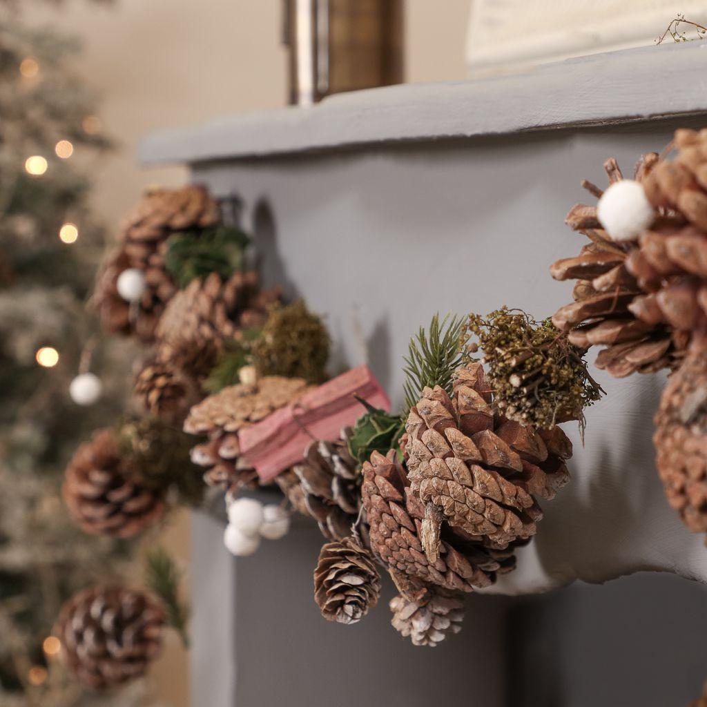 Natural pinecone garland mantel decoration