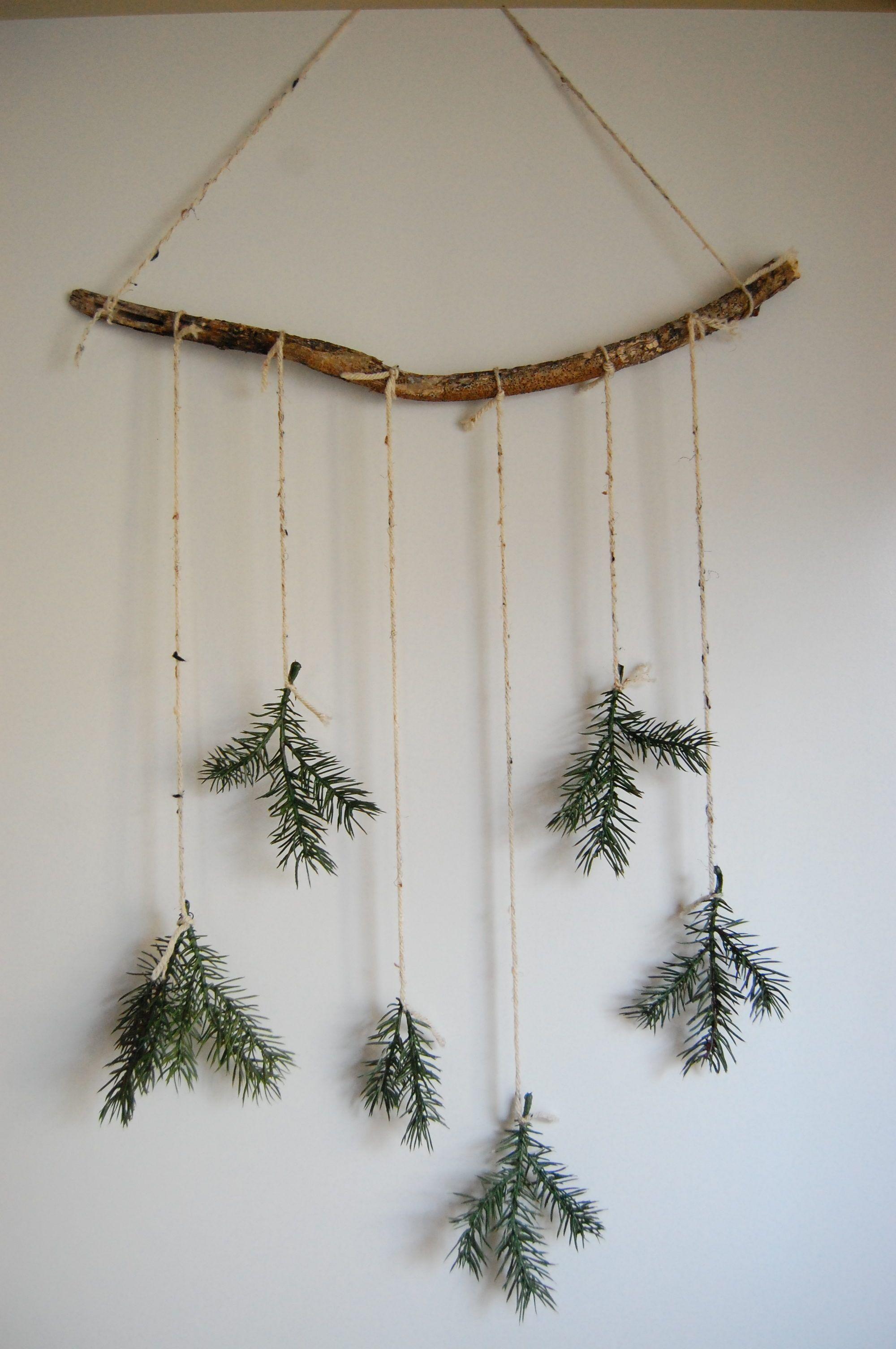 Natural Christmas wall decoration green branches