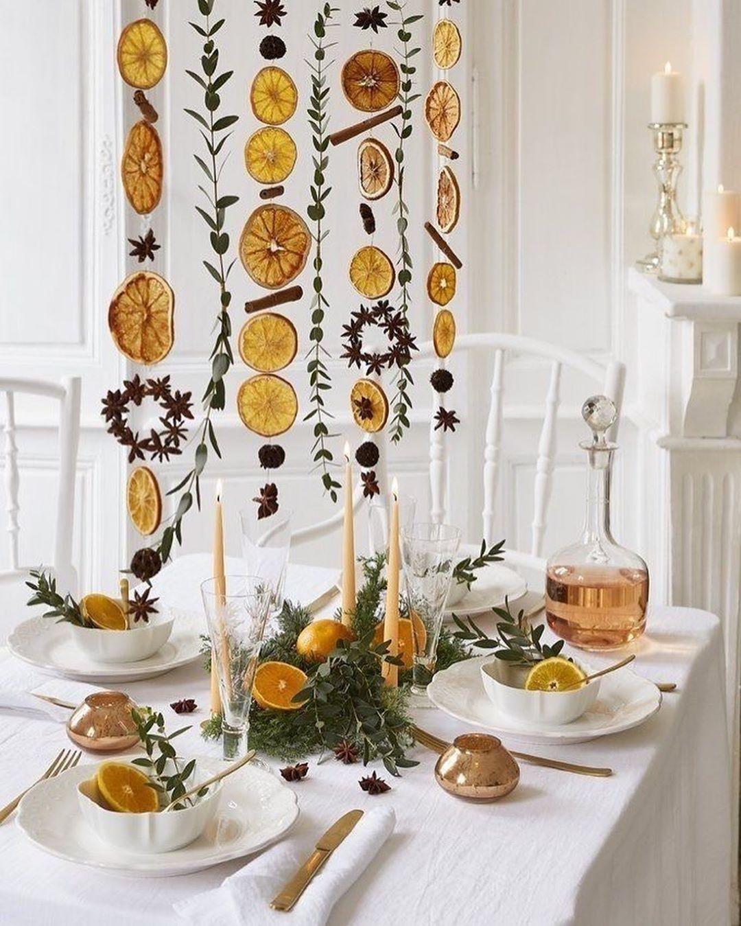 Natural Christmas decor orange cinnamon olive leaves garland