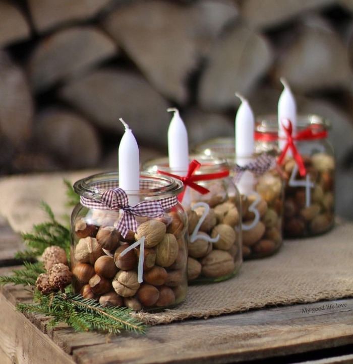 Natural Christmas numbered jar candle holders nuts ribbons