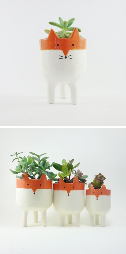 Potted plants in adorable fox themed pots