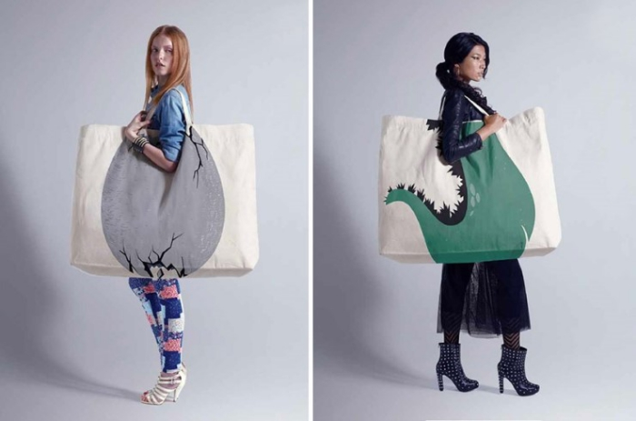 two models with Large fashionable Reusable Shopping Bags