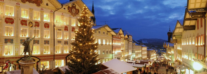 Romantic Christmas time in Bavaria Christmas tree market street decorated houses