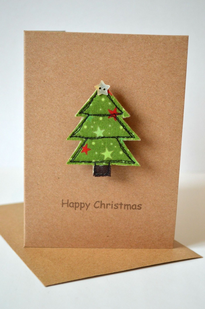 Christmas card with a sewn tree from green fabric