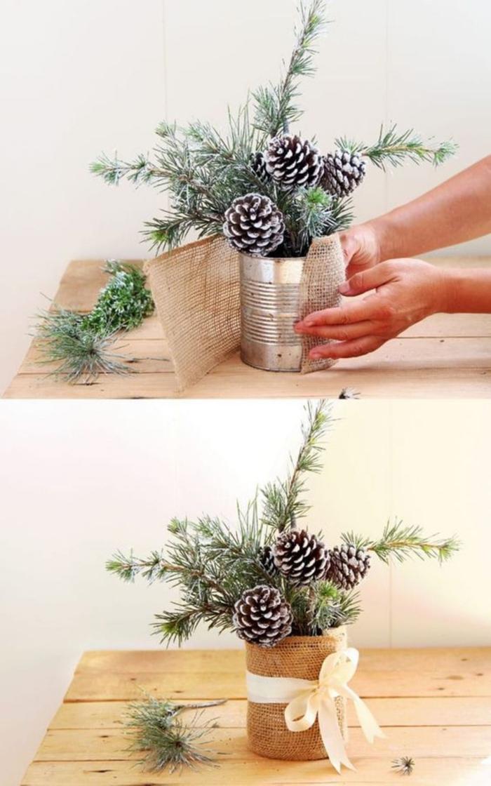 Simple Christmas table Centerpiece idea DIY tin burlap pinecones branches