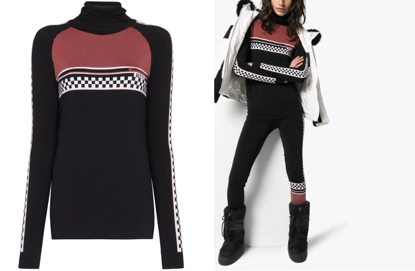 Ski layer trends 2020 checkered print sweater and woman wearing ski layered ski suit