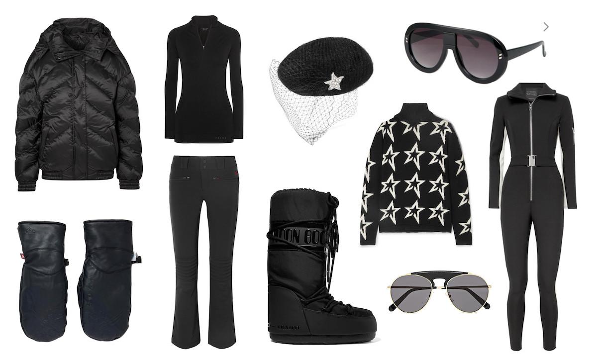 Ski wear trends monochrome different winter sport items