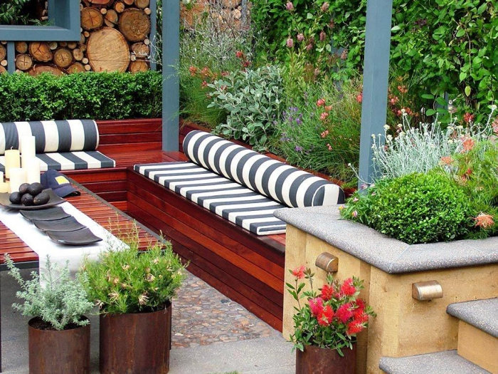 opened back small patio ideas wooden seating greenery