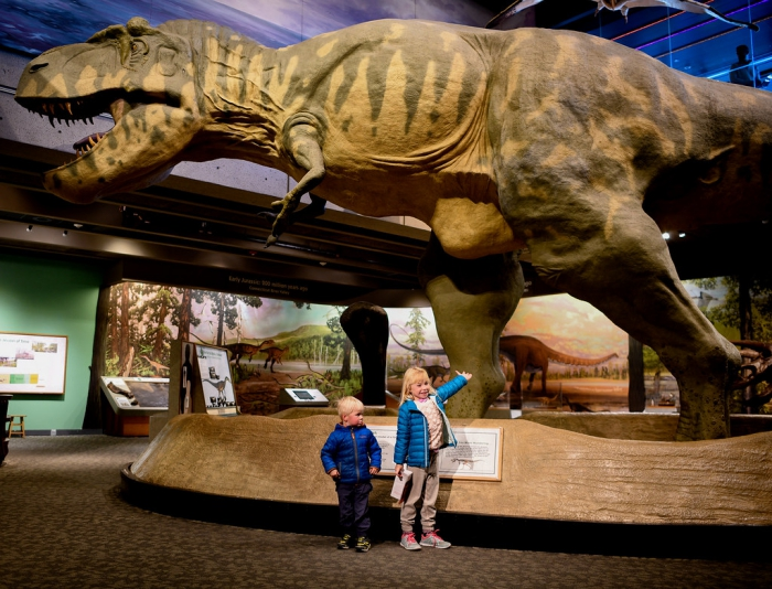 The Museum of Science two children in front of a giant dinosaur replica
