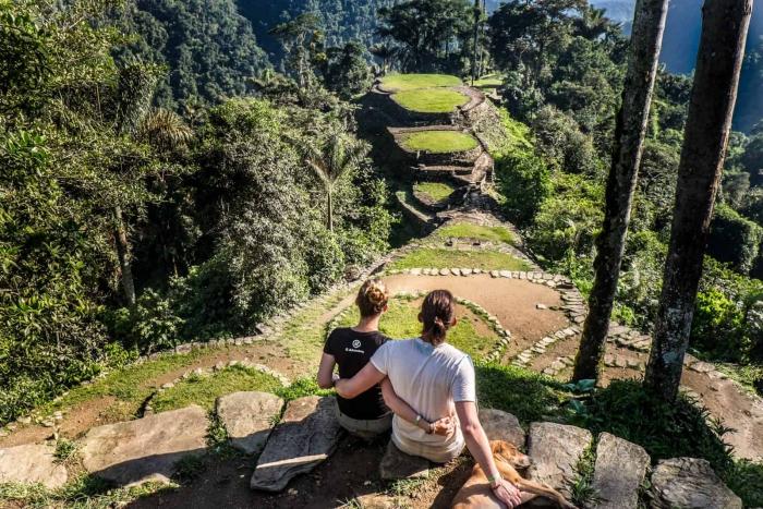 Couple at the ciudad perdida Colombia jungle
