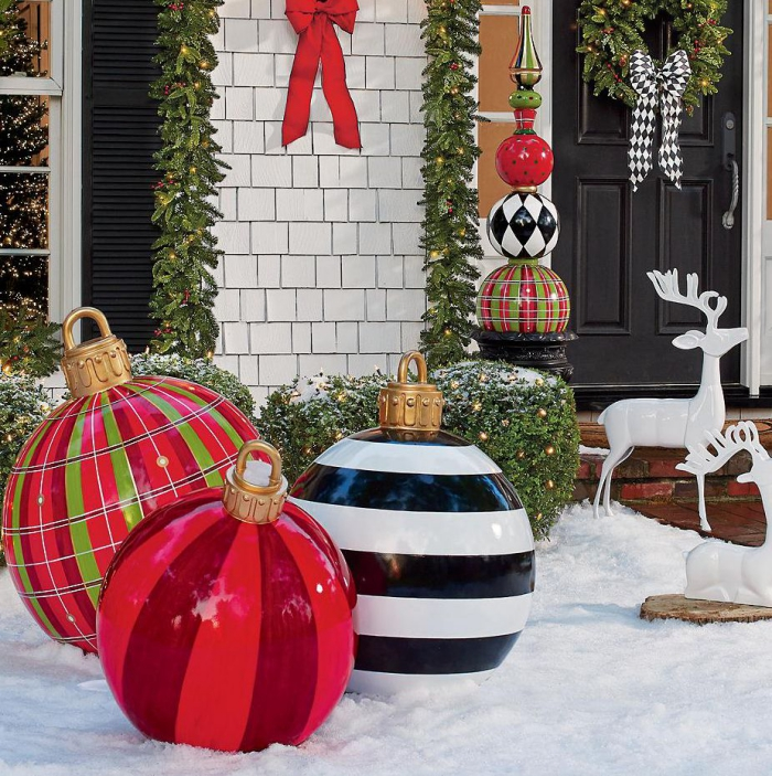 Oversized outdoor Christmas decorations baubles and reindeer