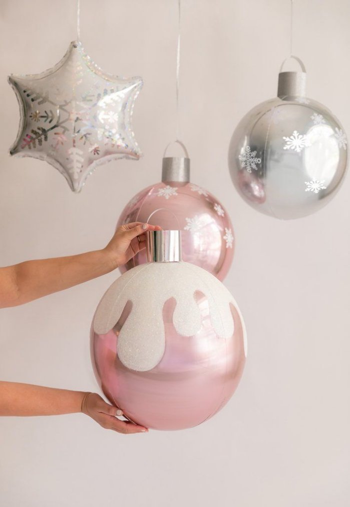 Oversized Christmas ornaments silver and pink baubles