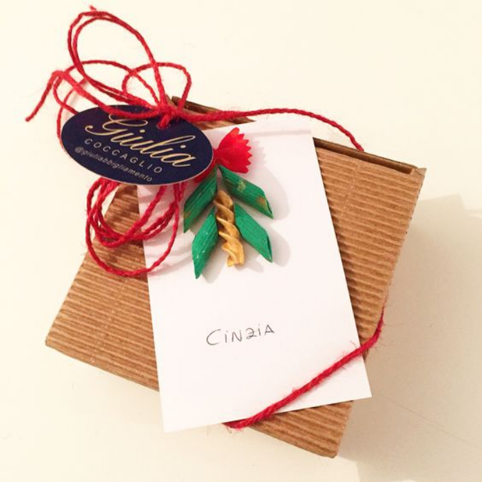 christmas card from pasta red ribbon name tag
