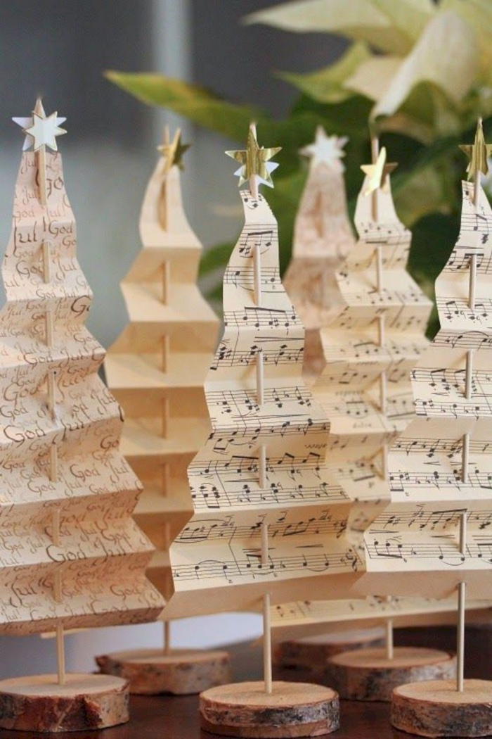 Christmas trees made from musical sheets