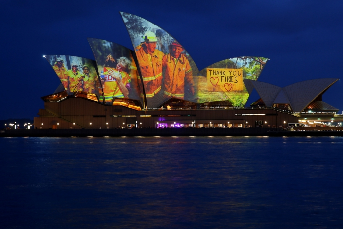 Australia Sydney Opera by night thank you message firefighters