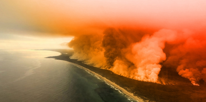 Fires in Australia land burning coastline