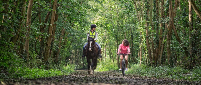 New Forest Hampshire horse riding in UK woman on horse and girl on a bycicle in a forest