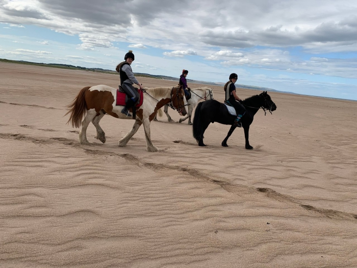 Northumberland Horse riding in UK three children on horses riding along a beach