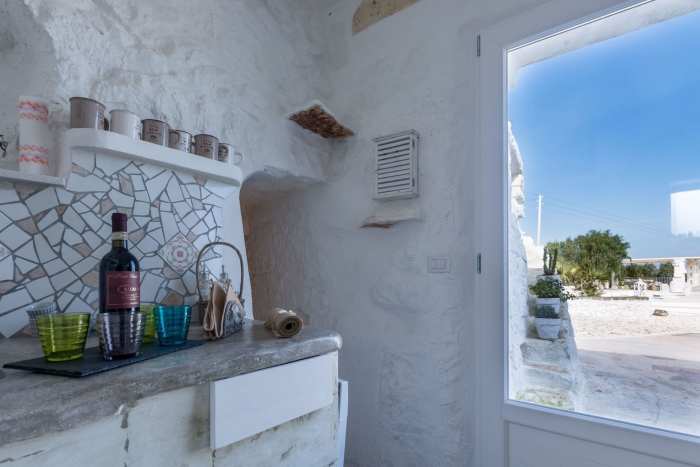 trullo house interior window with a view kitchen