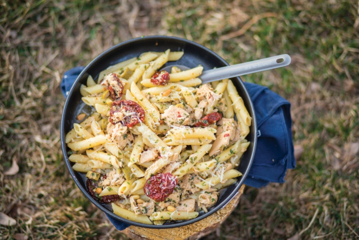 Tuna and chicken salad pasta outdoors camping food