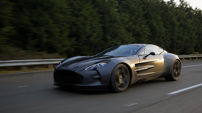 Aston Martin one 77 on the highway high speed driving