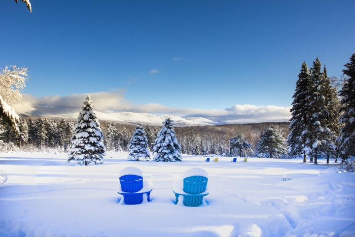 Best cabins for rent winter snowy landscape two blue chairs
