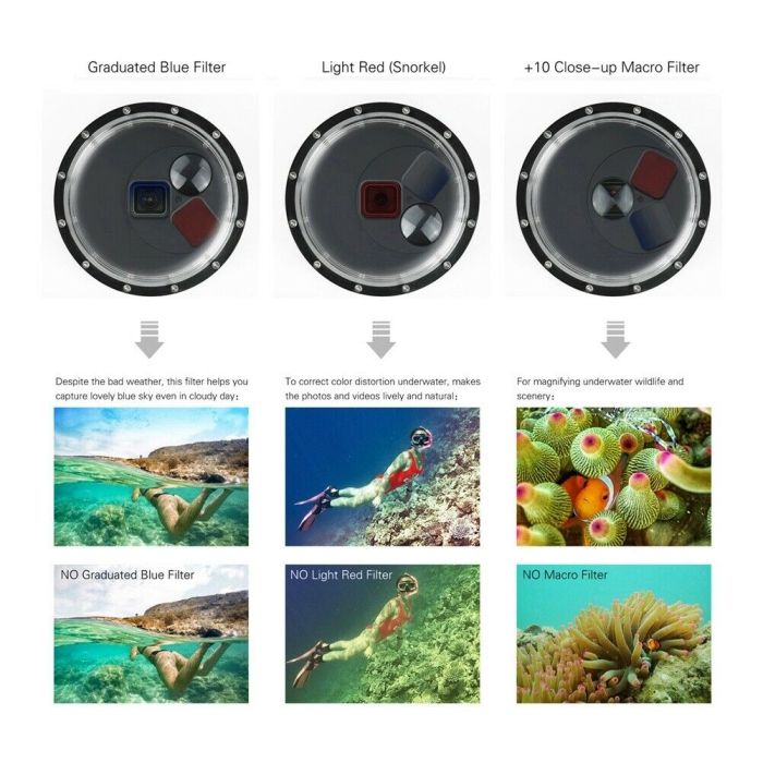 GoPro Underwater filters ideas for diving three different modes example pictures