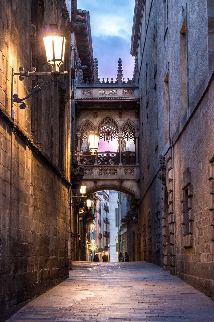 Streets of Barcelona at night lanterns