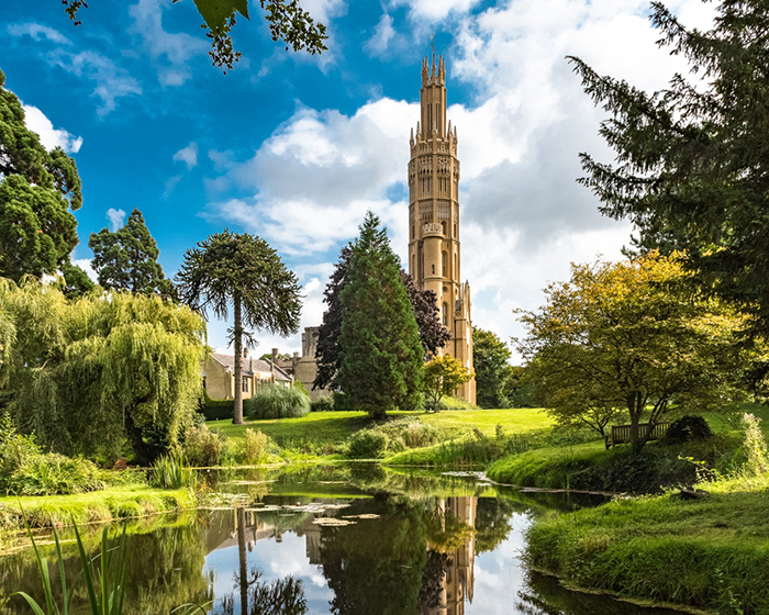 Hadlow Tower England Gothic tower park lake greenery