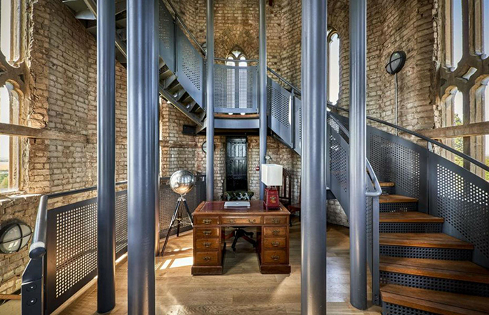 Hadlow Tower interior metal stairs