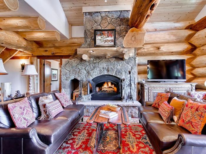 Interior Bear Lodge, Colorado winter break cabins fireplace wooden interior