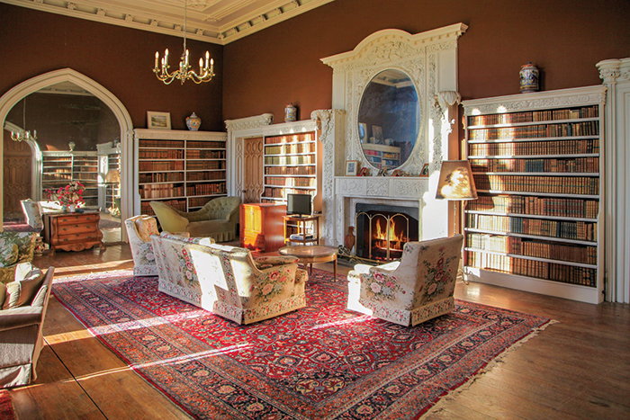 Knockdrin Castle Gothic Mansion in Ireland luxury interior fireplace