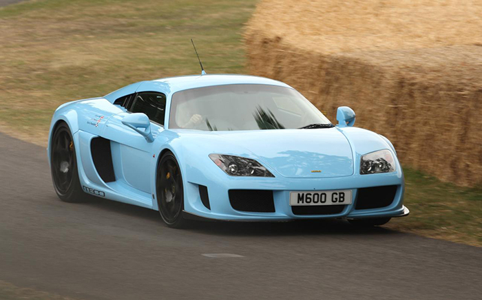Noble M600 light blue supercar outdoor racing