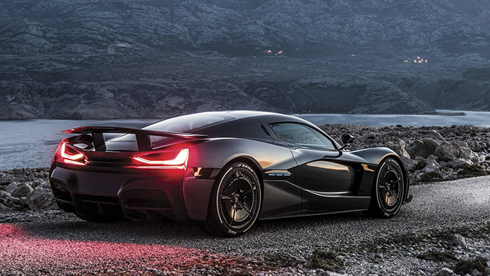 Rimac Concept Two black car outdoor driving off road