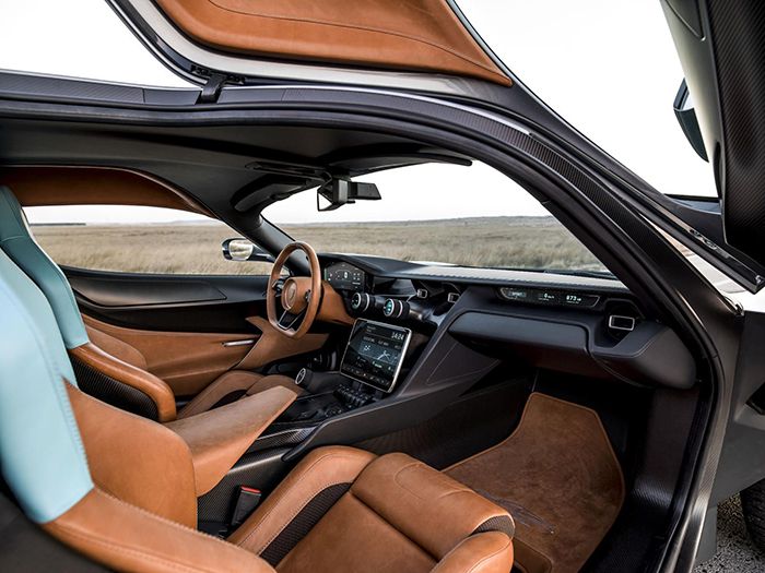 Rimac Concept Two interior in black and brown light blue seats
