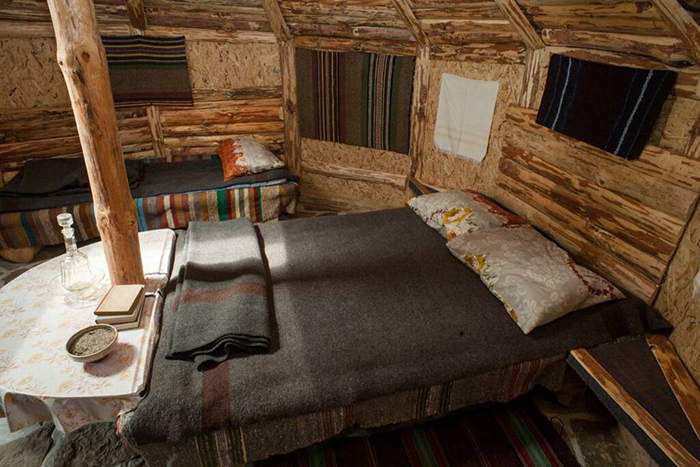 Eco wave tiny house wooden interior bed