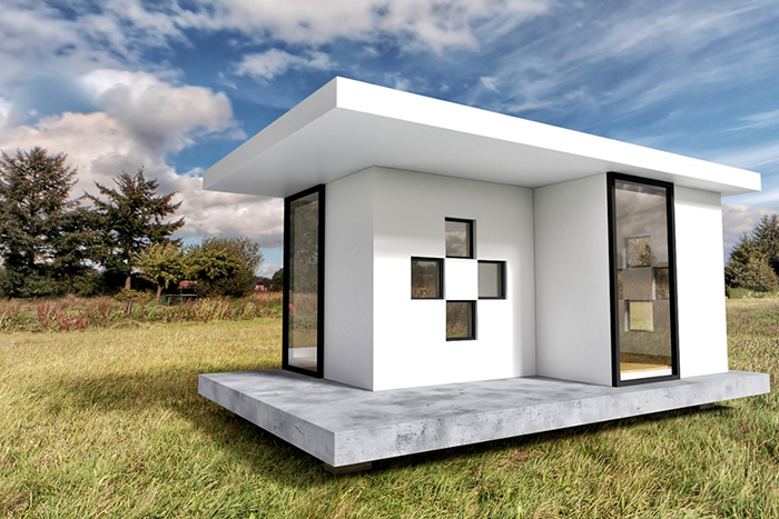 custom design tiny white home with stone floor and windows