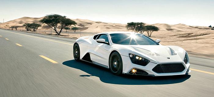 Zenvo ST1 white driving in the desert landscape super car