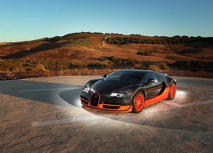 Bugatti Veyron Super Sport outdoors black and orange super car fastest cars