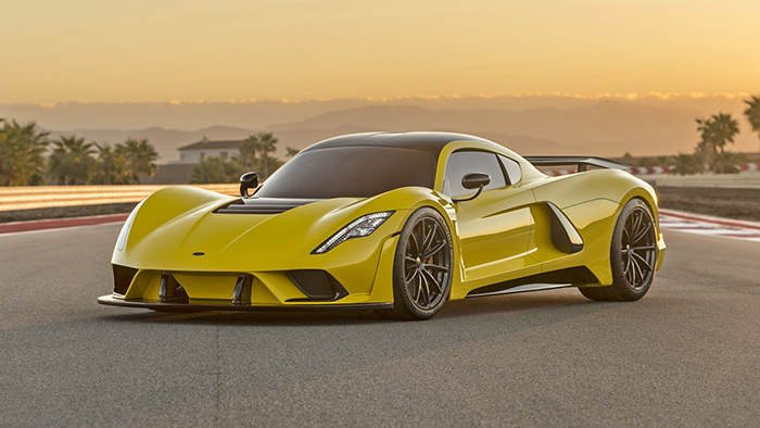 Hennessey Venom GT Supercar Yellow car outdoor racing track