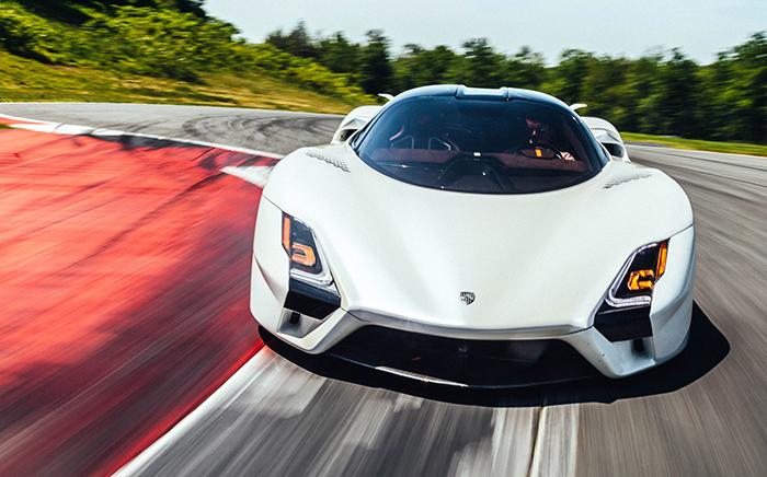 SSC Tuatara white car racing track high speed