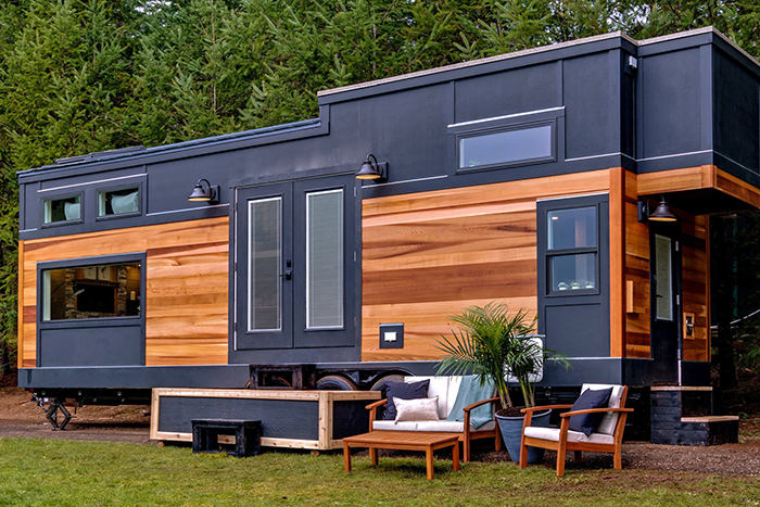 Luxurious tiny home design idea wood and metal home on wheels