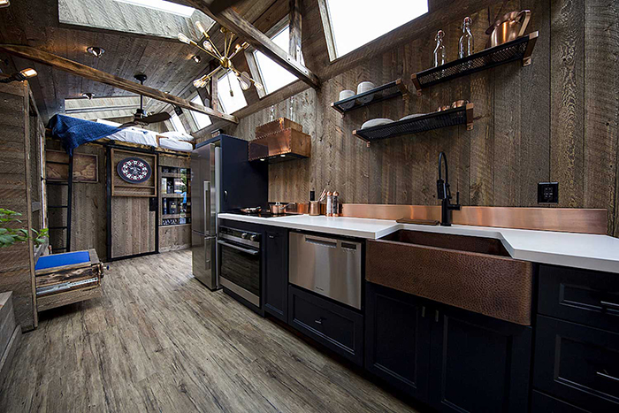 Luxurious tiny home wooden interior small kitchen design wooden floor