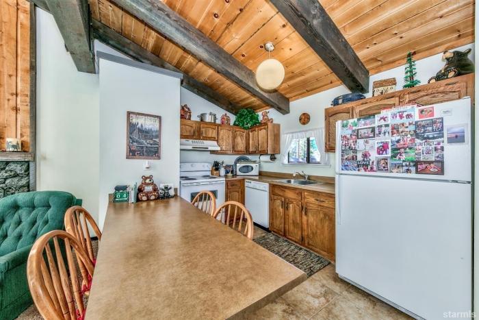 Winter cabin interior kitchen fridge kitchen table