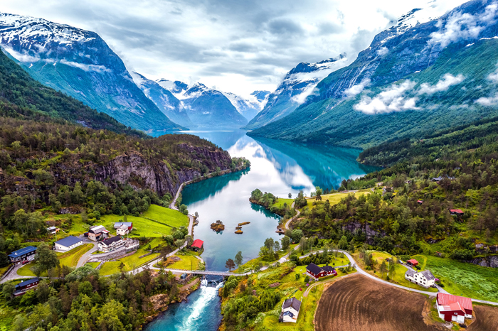 Norway Nature Landscapes Fjords Snowy Mountains Blue water